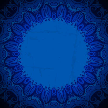 Vintage vector circle floral ornamental border. Lace pattern design. White vintage ornament on blue background. Vector ornamental border frame. Can be used for banner, web design, wedding cards. Vector