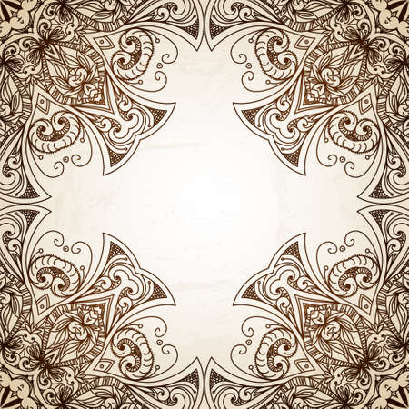 east indian: Vintage vector circle floral ornamental border. Lace pattern design. White vintage ornament on blue background. Vector ornamental border frame. Can be used for banner, web design, wedding cards.