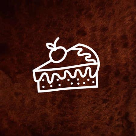 porcion de torta: Vector pedazo de pastel con bayas frescas sobre fondo de acuarela. Ilustración del vector. Vector elemento de diseño en papel con textura. Puede ser utilizado para web e impresión. Dibujado a mano elemento de diseño.