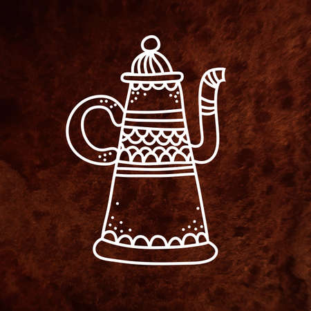 arabian food: Vector antique teapot. White. Vector design element on textured paper. Can be used for web and printing. Hand drawn design element.