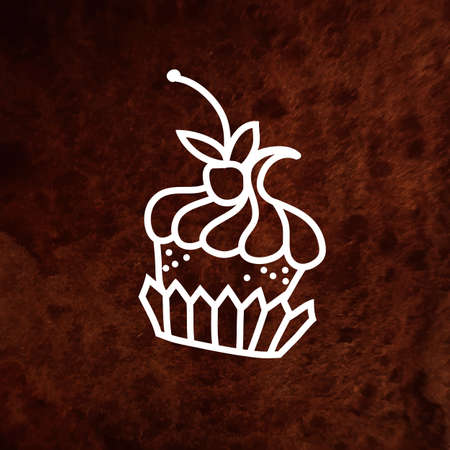Vector hand drawn cake with berry. Hand drawn design element on textured paper. White element on brown waterclolor texture. Can be used for web and printing. Vector