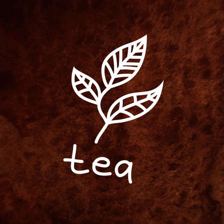 Vector hand drawn tea leaves on brown textured paper. Hand written tea word. Hand drawn design element on textured paper. White element on brown waterclolr texture. Can be used for web and printing. Vector
