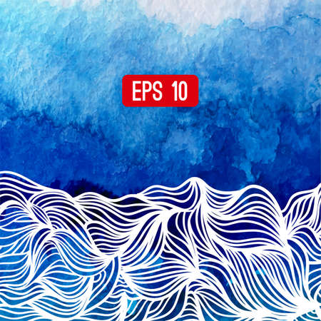 graphically: Abstract vector background. Watercolor background with waves. Blue watercolour banner. Vector illustration. Wavy graphic. Painted image. Can be used for card (postacard), menu, banner, web, printing