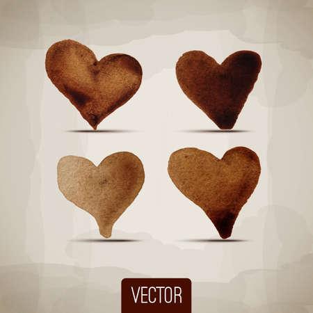 unusual valentine: Set of abstract vector hearts. Design elements. Retro background. Vintage background. Abstract background. Hand drawn. Grunge heart. Vector. Coffee. Set. Valentines day. Old paper. Retro. Vintage.