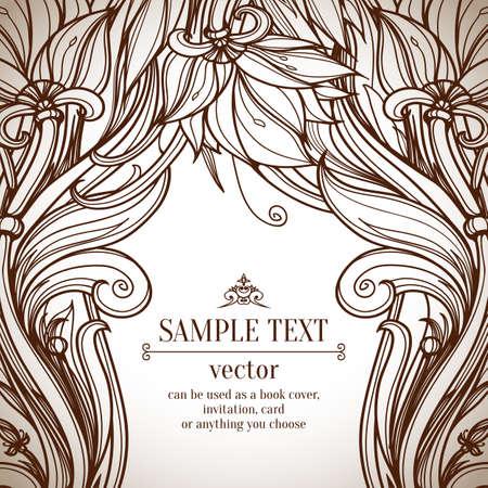 Floral background. Abstract Retro Vintage background. Vector background. Card or invitation design element. Advertising design. Page decoration. Frame/border design.