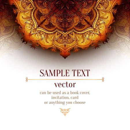 Retro Vintage wedding greeting card. Vector background. Card or invitation. Vintage decorative elements. Hand drawn background. Floral ornament. Islam, arabic, indian, ottoman motifs.