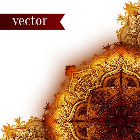 Retro Vintage Hochzeit Grußkarte. Vektor Hintergrund. Karte oder Einladung. Vintage dekorative Elemente. Hand gezeichnet Hintergrund. Blumenverzierung. Islam, arabisch, indisch, Ottomane Motive.