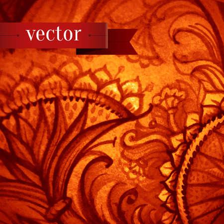 detail invitation: Retro Vintage wedding greeting card. Vector background. Card or invitation. Vintage decorative elements. Hand drawn background. Floral ornament. Islam, arabic, indian, ottoman motifs.