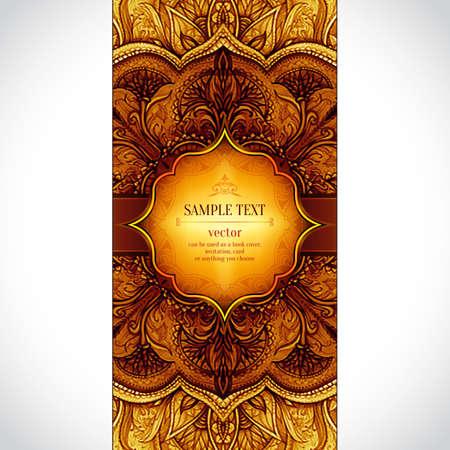 Retro Vintage Hochzeit Banner. Vector Hintergrund mit Gold-Label. Karte oder Einladung. Weinlese-dekorative Elemente. Hand gezeichnet Hintergrund. Blumenverzierung. Islam, arabisch, indisch, Ottomane Motive.