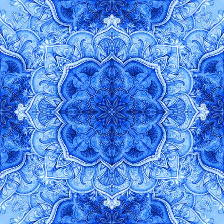 eamless pattern  Retro Vintage wedding greeting card  Blue background  Card or invitation  Vintage decorative elements  Hand drawn  Floral ornament  Islam, arabic, indian, ottoman motifs