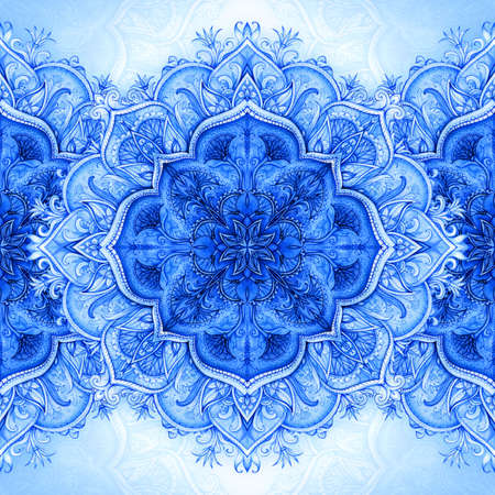 Retro Vintage wedding greeting card Blue background Card or invitation Vintage decorative elements Hand drawn background Floral ornament Islam, arabic, indian, ottoman motifs Imagens