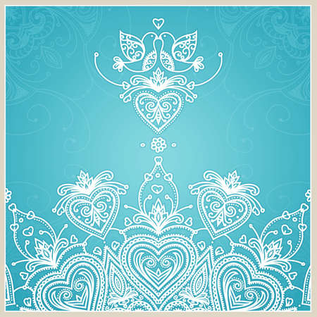 Blue wedding invitation design template with doves, hearts, flowers and geometrical lace ornament Wedding card