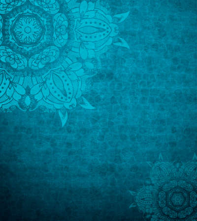 islamic pattern: Grunge design template. Blue background. Invitation design. Blue abstract background design layout of elegant old vintage grunge background. Textured wall with ornamental blue lace elements.