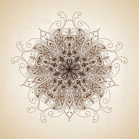 Abstract circle floral ornamental border. Lace pattern design. Hand drawn decorative background. Ornamental border frame. Can be used for banner, web design, wedding cards etc. JPG Banco de Imagens
