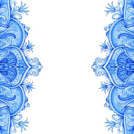 Seamless pattern  Retro Vintage wedding greeting card  Blue background  Card or invitation  Vintage decorative elements  Hand drawn  Floral ornament  Islam, arabic, indian, ottoman motifs
