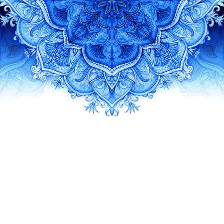 Fond tiré Rétro Vintage carte de voeux de mariage Fond bleu Carte ou invitation Vintage éléments décoratifs main ornement floral islam, arabe, indien, motifs ottomans Seamless Banque d'images - 28200166