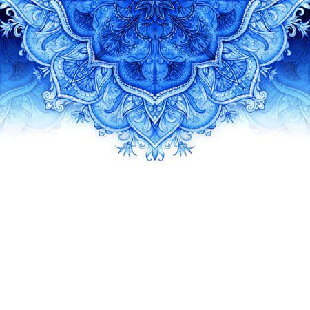 Retro Vintage bruiloft wenskaart Blauwe achtergrond kaart of uitnodiging Vintage decoratieve elementen Hand getrokken achtergrond Floral ornament islam, arabisch, indisch, Ottomaanse motieven Naadloos patroon Stockfoto