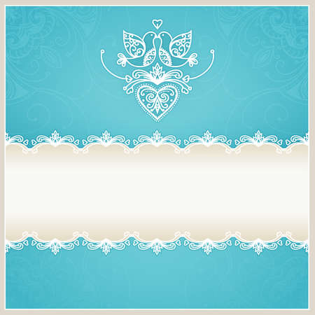 aqua flowers: Blue wedding invitation design template with doves, hearts, flowers and geometrical lace ornament  Wedding card with text