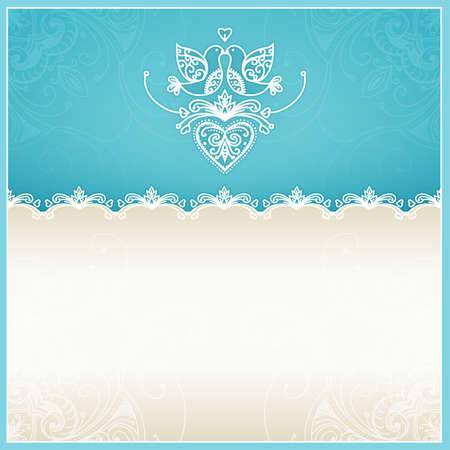 Blauwe trouwkaart ontwerp sjabloon met duiven, harten, bloemen en geometrische kant ornament Wedding kaart met tekst gebied Ontwerp sjabloon voor het printen en web Stockfoto