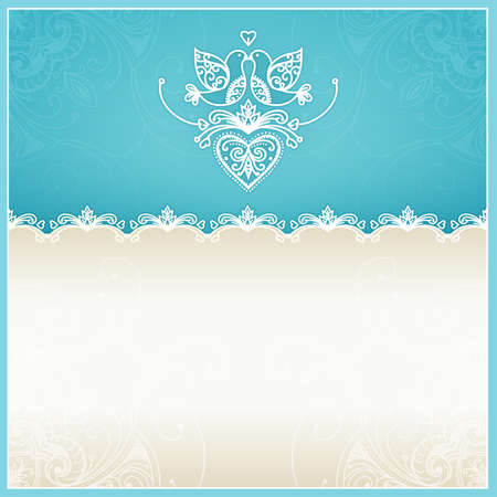 royal wedding: Blue wedding invitation design template with doves, hearts, flowers and geometrical lace ornament  Wedding card with text area  Design template for printing and web