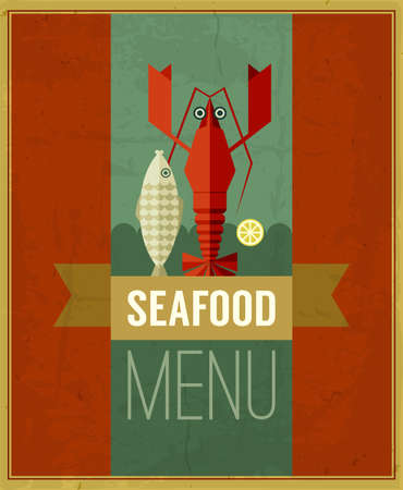 Vintage seafood menu poster with fish, lobster and lemon. Retro seafood poster with grunge background and ribbon. Seafood design template can be used for menu cover, flyer, sign etc. Raster version photo