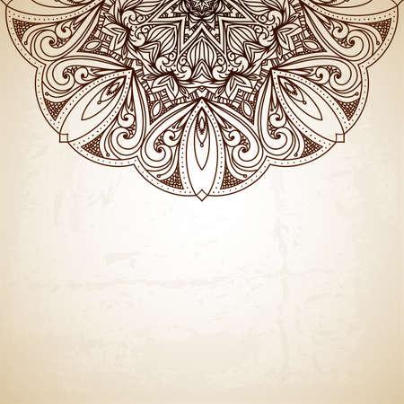 Vintage patroon. Retro Vintage bruiloft wenskaart. Hand getrokken abstracte achtergrond. Kaart of uitnodiging. Bloemen ornament. Islam, arabisch, indisch, Ottomaanse motieven. Raster versie Stockfoto