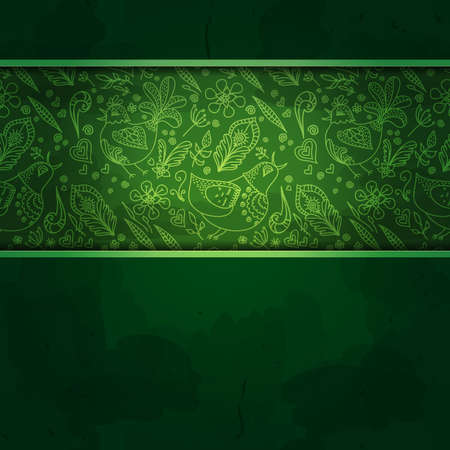 Floral background. Abstract green background or green background design layout of elegant old vintage grunge background. Textured wall with ornamental green and gold ribbon wrap on top frame photo
