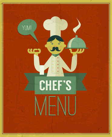 Vintage menu. Retro design template. Chef's menu illustration. Cartoon chef with dish on red grungy background. Menu cover design template. Yum! Raster version
