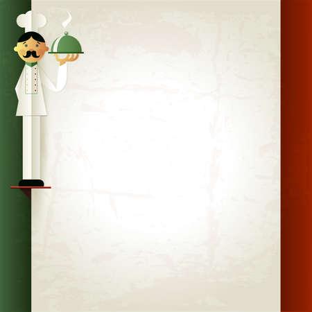 """Italiaans menu met chef-kok en plaat. Menu template in Italiaanse vlag kleuren. """"Pasta"""" en """"Pizza"""" woord. Menu indeling met plaats voor uw tekst. Kan gebruikt worden voor banner, poster, website, flyer. Roosterversie"""