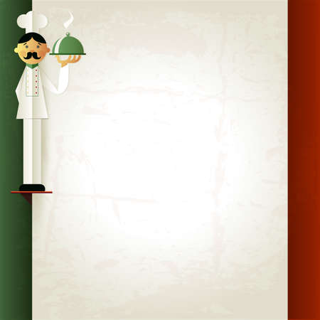 wine background: Italian menu with chef and plate. Menu template in italian flag colors. Pasta and  Pizza word. Menu layout with place for your text. Can be used for banner, poster, web site, flyer. Raster version
