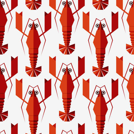 Lobster background. Animal pattern. Seafood background. Seamless vintage pattern with geometric lobsters. Can be used for restaurant menu. Raster version of vector Banco de Imagens