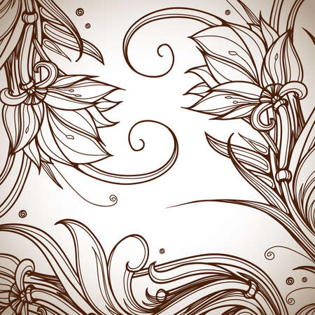 Vintage pattern. Hand drawn abstract background. Decorative retro banner. Can be used for invitation, wedding card, scrapbooking and others. Royal design element. Raster version Stock Photo