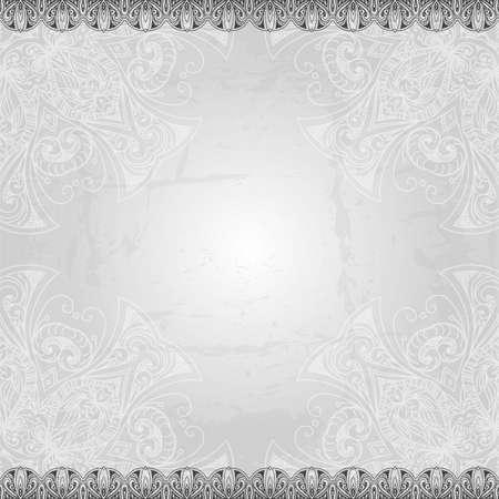 Vintage vector patroon. Hand getrokken abstracte achtergrond. Retro banner. Kan worden gebruikt als cover van het boek, uitnodiging, trouwkaart. Abstract floral grens. Kantpatroon. Royal design element. Zilver textuur. Stock Illustratie