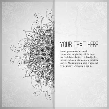background motif: Vintage vector pattern. Hand drawn abstract background. Retro banner. Can be used as book cover, invitation, wedding card. Abstract floral border. Lace pattern. Royal design element. Silver texture.