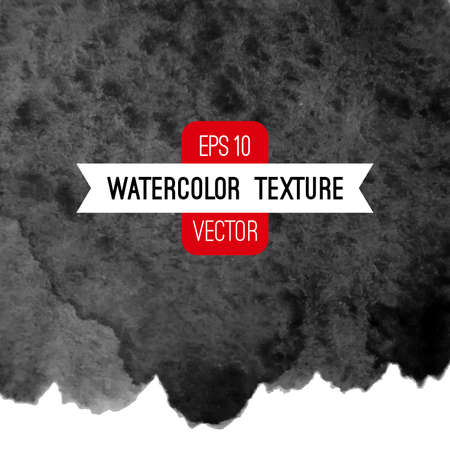 Vector abstract watercolor background. Black and white background. Design template with place for your text. Watercolor texture can be used for invitation, menu, card, identity style, printing, etc. Ilustração