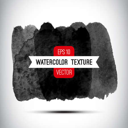 Vector abstract watercolor background. Black and white background. Design template with place for your text. Watercolor texture can be used for invitation, menu, card, identity style, printing, etc. Vettoriali