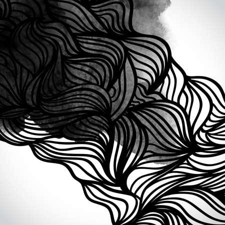 Noir de vecteur Résumé et conception de blanc avec des vagues. Thème urbain élément de design. éclaboussures d'encre. Dessinés à la main des vagues sur fond d'aquarelle. texture d'aquarelle. Motifs japonais. Fond noir et blanc Banque d'images - 28193288
