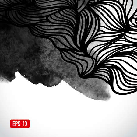 Abstract vector black and white design with waves. Urban theme design element. Ink splatter. Hand drawn waves on watercolor background. Watercolor texture. Japanese motifs. Black and white background Illustration