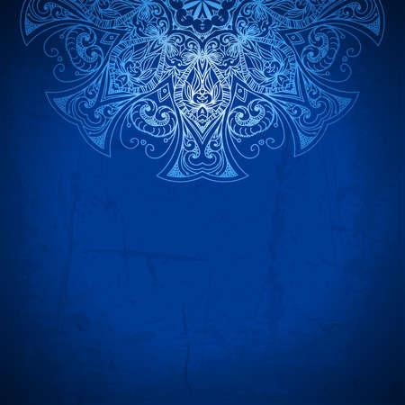 royal blue background: Blue background  Vintage pattern  Hand drawn abstract background  Decorative retro banner  Invitation, wedding card, scrapbooking design element  Royal design element  Raster version
