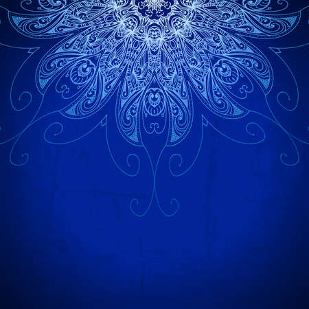 royal wedding: Blue background  Vintage pattern  Hand drawn abstract background  Decorative retro banner  Invitation, wedding card, scrapbooking design element  Royal design element  Raster version