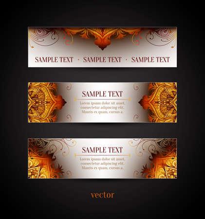 Set of three horizontal banners. Retro Vintage wedding card. Vector background. Vintage decorative elements. Hand drawn background. Floral ornament. Islam, arabic, indian, ottoman motifs. Vettoriali