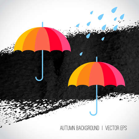 Autumn background. Rainbow color umbrellas and raindrops on black and white grunge background. Hand drawn illustration. Rainy day. Autumn season concept. Abstract vector background. Vector