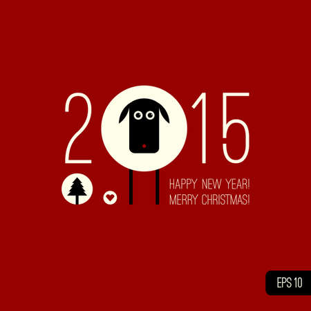 Chinese Zodiac 2015 - Year of the Sheep (Ram, Goat). Vector sheep, christmas tree, heart icons. Vector illustration in flat style. Merry Christmas design element. Happy New year background. Vector