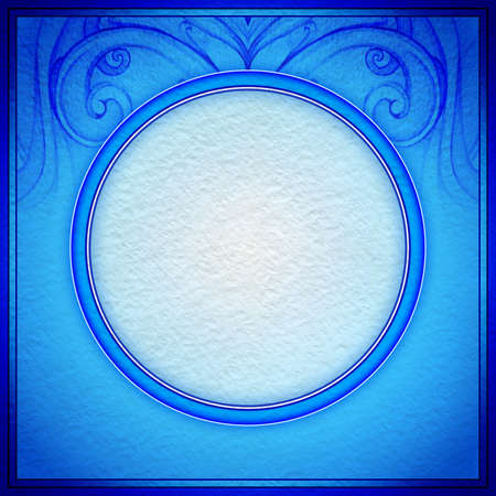3D picture frame design. Textured paper. Hand drawn pattern. Abstract background. Blue background. White label. Floral painting. Painted backdrop. Illustration. illustration