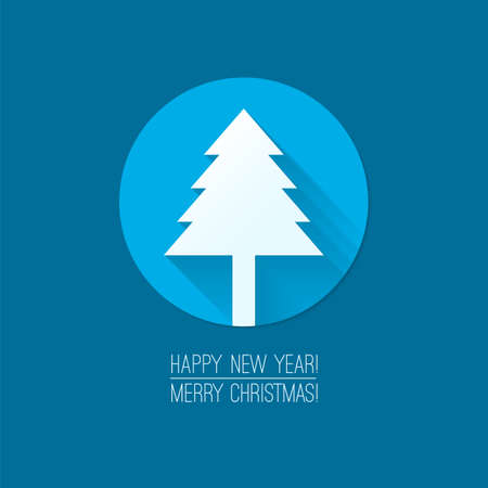 Flat design concepts for Merry Christmas and Happy New Year cards. Christmas tree flat icon. Trendy design idea for banner, sign, ad etc. Blue background. Vector illustration for web and print. Vector
