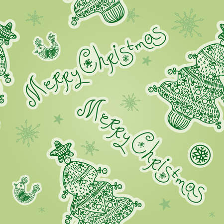 Christmas seamless pattern with Christmas Tree, Merry Christmas label, Snowflakes, Christmas Ornaments, Bird. Xmas decorative design element can be used for Xmas card, Invitation, Flyer, Gift Wrapping Vector