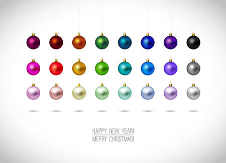Colorful Christmas ornaments isolated on white background. Hanging Christmas Decoration. Happy New Year and Merry Christmas label. Red,Gold, Blue, Green christmas balls. Vector illustration.
