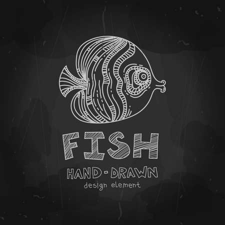 ocean fish: Tropical fish. Vector illustration. Ocean fish. Vector illustration. Fish label, stamp, badge. Chalkboard drawing.