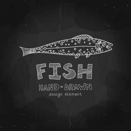Vector fish. Chalkboard style design element. Fish stamp, label, badge. Vintage seafood menu design. Vector