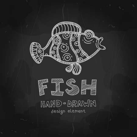 Vector funny fish. Parrot fish illustration. Chalkboard Style design element. Vector Chalkboard menu cover for seafood restaurant and snack bars with grunge elements.